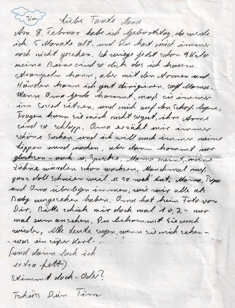 Brief von Gerda an ihre Tochter Nana aus Sicht vom kleinen Tim.